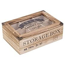 EG Homeware Wooden Tea Storage Box Glass Lid- Choice Of 6 Or 9 Compartements (6 Compartments)