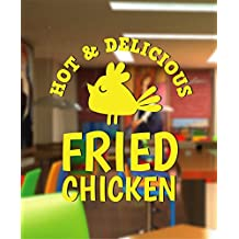 Ik2455 Wall Decal Sticker Delicious Fried Chicken Eatery Bistro Restaurant Stained Glass