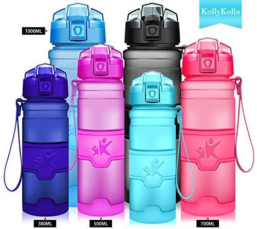 KollyKolla Water Bottle BPA Free Tritan, Opens with 1-Click Flip Top Leak-Proof Lid, Kids Drinks Bottle, Reusable Water Bottles with Filter, for Sports, Outdoors, Gym, Yoga, (500ml Matte Light Blue) (Drink Top Flip)