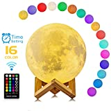 Moon Lamp, Moon Light with Time Setting and Stand 3D Print 16 Colors RGB, LED Decorative Night Light with Remote&Touch Control and USB Recharge for Birthday Baby Kids Christmas Gifts(5.98 inch)
