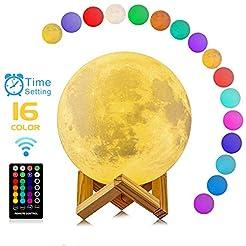 Moon Lamp, 3D Printing 16 Colors RGB Led...