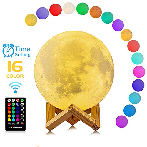 Moon Lamp, 3D Printing 16 Colors RGB Led Moon Light with Stand and Timing Setting, Moon Light Lamps with Remote & Touch Control and USB Recharge for Kids Lover Birthday Christmas Gifts (5.98 inch)]()