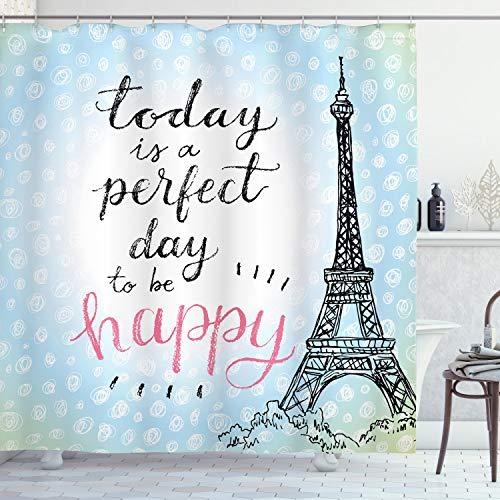 Ambesonne Eiffel Tower Shower Curtain, Perfect Day Eiffel Tower Polka Dot Handwriting Typography Sketch Paris Print, Cloth Fabric Bathroom Decor Set with Hooks, 70 Long, Blue Black