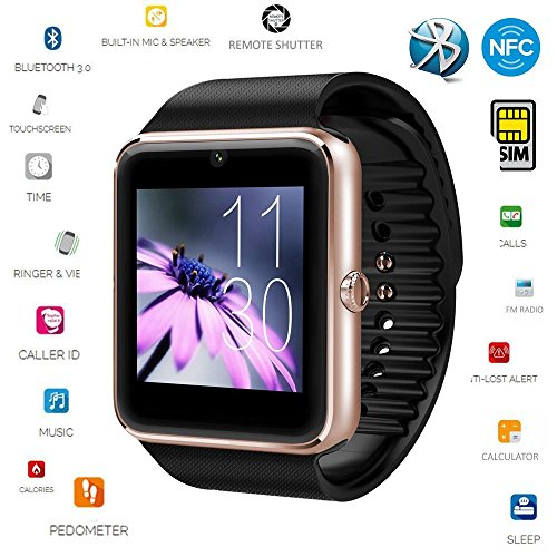 Smart Watch[U.S. Warranty]JoyGeek All-in-1 Bluetooth Watch Wrist Watch Phone with SIM Card Slot and NFC for IOS Apple iPhoneAndroid Samsung HTC Sony LG Smartphones(Gold)