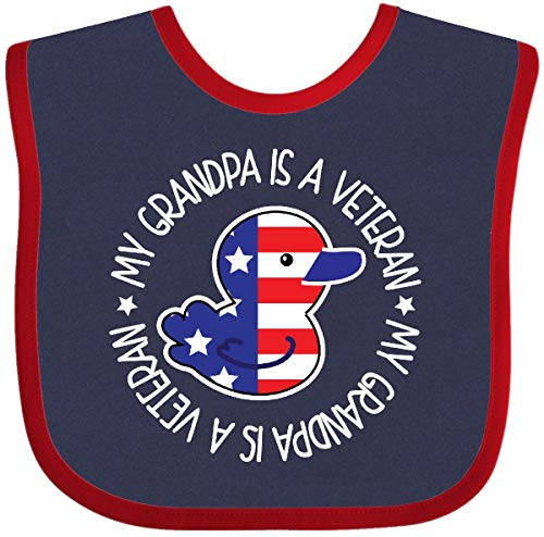 - Inktastic - My Grandpa Is A Veteran Military family Baby Bib Navy and Red 272ac
