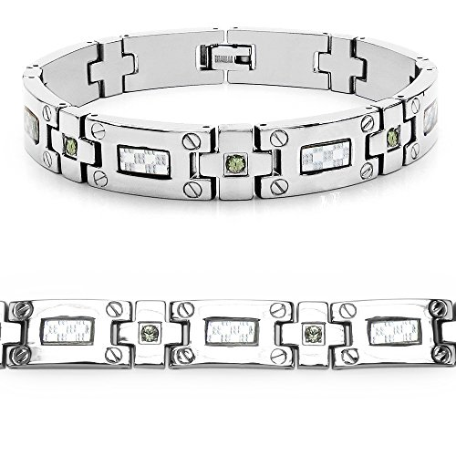 Mason Dunn Green Sapphire Titanium Bracelet with Silver Plated Steel Inlay by Mason Dunn