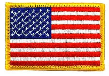 Gold United States Air (World Airsoft Patches - American Flag Embroidered Patch Gold Border USA United States of America Military Uniform Emblem (Size 3.5