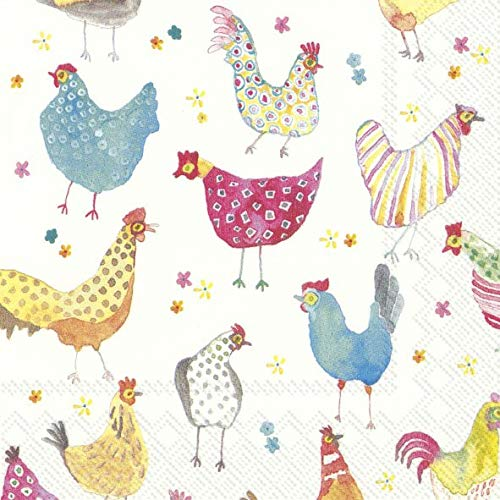 IHR JOLLY HENS Colourful Chickens Easter Luncheon Paper Table Napkins 20 in a pack 33cm square