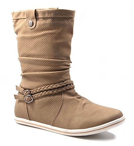 Damen Stiefeletten Stiefel Boots Flache Schlupfstiefel Schuhe Khaki