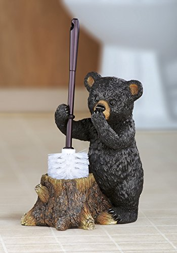 (winston inc Black Bear Lodge Woodland Cabin Resin Tree Stump Toilet Brush Holder Bathroom Decor)