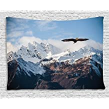 Ambesonne Apartment Decor Tapestry, Frozen Peaks Tops of the Mountain with a Flying Eagle Free in the Nature Photo, Wall Hanging for Bedroom Living Room Dorm, 60 W X 40 L, Brown White and Blue