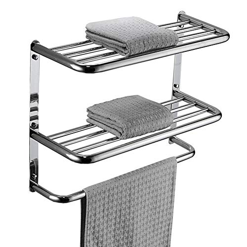 - LUANT Bathroom Shelf 2-Tier Wall Mounting Rack with Towel Bars