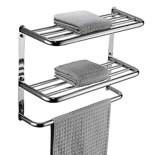 (LUANT Bathroom Shelf 2-Tier Wall Mounting Rack with Towel Bars)