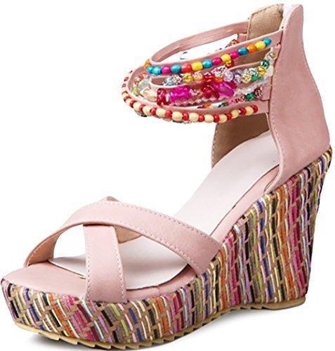 Odema Sandalias de Cuna de Estilo Bohemio Decoradas con Perlas Artificiales para Mujer Pink