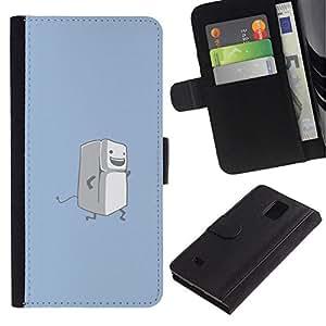 NEECELL GIFT forCITY // Billetera de cuero Caso Cubierta de protección Carcasa / Leather Wallet Case for Samsung Galaxy Note 4 IV // Correr Nevera divertido