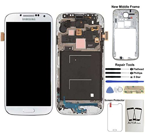 Display Touch Screen (AMOLED) Digitizer Assembly with Frame for Samsung Galaxy S4 (SIV) SGH-I337 (AT&T) / SGH-M919 (T-Mobile)(for Mobile Phone Repair Part Replacement) (White Frost)