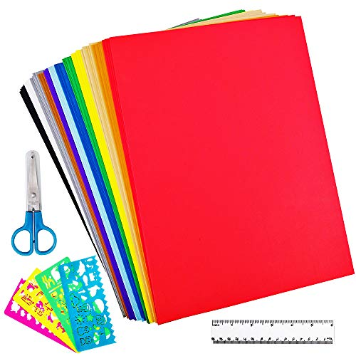 "Supla 48 Sheets 12 Colors EVA Foam Handicraft Sheets 2mm Thick Craft Foam Sheets 9"" x 12"" Assorted Colorful Crafting Sponge with Stencils Ruler Scissor for Classroom Party Kids Art & Crafts Projects"