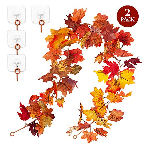 EPLST 2 Pack Maple Leaf Garland Hanging Fall Leave Vines Artificial Silk Mantel Garland 11.8 FT for Indoor Outdoor Autumn Wedding Home Garden Door Fireplace Thanksgiving Festival Dinner Party + 4 Hook