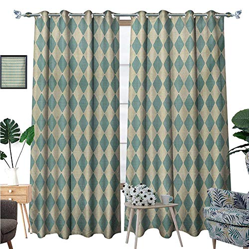 (Geometric Waterproof Window Curtain Rhombus Pattern with Retro Design Inspirations Vintage Argyle Arrangement Blackout Draperies for Bedroom W84 x L96 Teal and Beige)