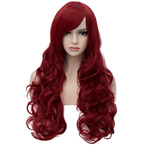 Aosler Wine Red Wigs for Women 32 inches Long Curly Cosplay Wigs Heat Friendly Synthetic Costume Party Wigs Halloween Hair ()