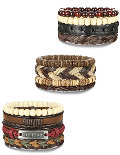 FINREZIO Soft Brown Leather Bracelet for Men Braided Wood Bead Bracelets Set Adjustable Rope 12pcs