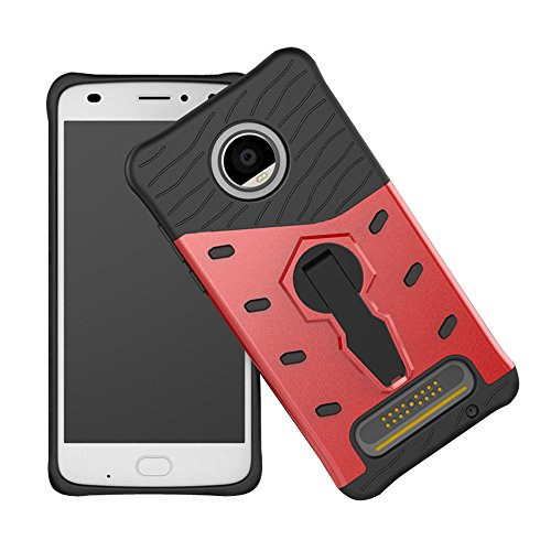 Moto Z2 Play Case, Telegaming Dual Layer Armor Case With 360 Degree Rotate Kickstand Shock Absorption Impact Resistant Slim Hard Cover For Motorola Moto Z2 Play (2017) Red Commerce Low Back Swivel