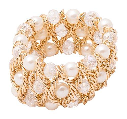 Layered Cream Imitation Pearl Bead Goldtone Twisted Chain Stretch Bracelet (Gold Tone Bead Bracelet)