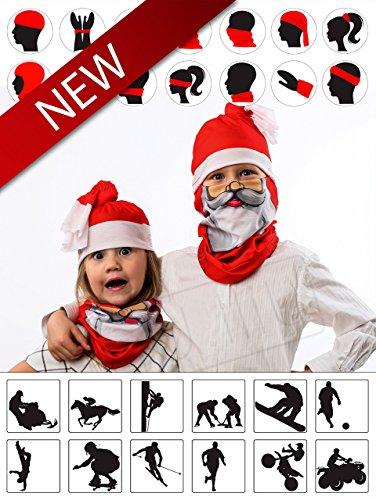 Christmas Santa Tubular Half Face Mask Neck Warmer Unisex Costume Headwear Gift Set (Christmas Elf Pictures)