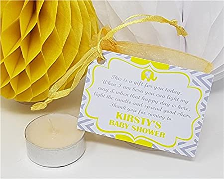 ffd6e2edc33 Treasured Forever Personalised Baby Shower Favour - Thank You Gift - Candle Tea  Light - Elephant Style