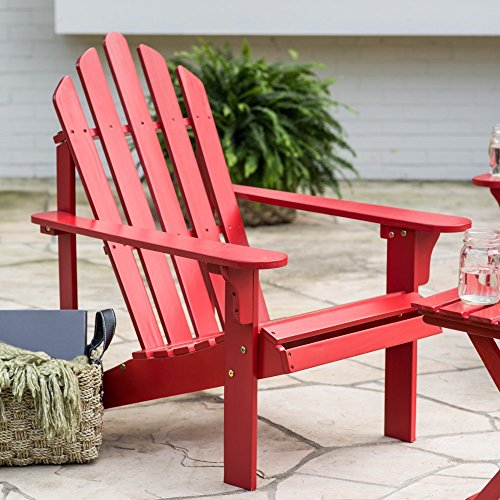Premium Quality Adirondack (1 Chair + 1 Side Table) Wooden Furniture for All Weather Conversations on Deck Patio Outdoor Garden Poolside Beach, 3 Colors (2, Red) (Breezesta Adirondack)