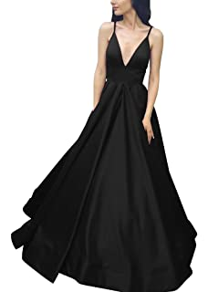 ea5e78ef4665 Yangprom Long Spaghetti Straps Ball Gown Satin Prom Dresses with Pockets