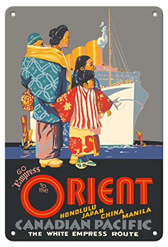 - Pacifica Island Art 8in x 12in Vintage Tin Sign - Go Empress to The Orient - Honolulu, Japan, China - Canadian Pacific by Maurice Logan