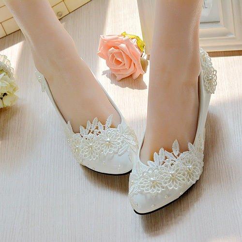 JINGXINSTORE Herz Pearl Schuhe Weiß Lace Floral Braut Hochzeit Schuhe Pearl High Heel Platform Weiß 28f793