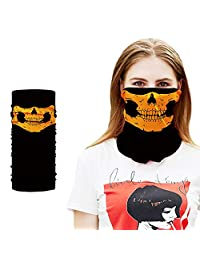 Aardich 1pc Hooded Skull Scarf Winter Scarfs For Mens Ring Skull Mask Hooded Face Mask Male Fashion Sport Headband Wind Hood Balaclava Tube Neck Headscarf Headband (Orange) Clothing Accessories