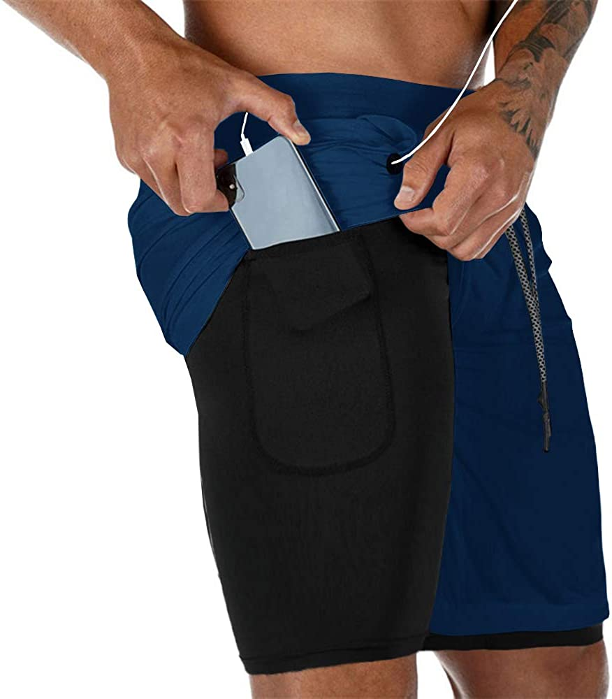 Gafeng Mens Running 2 in 1 Shorts Workout Gym Yoga Training Sport Soft Compression Tight Pants with Phone Pocket