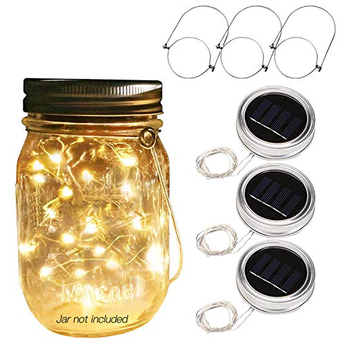 Betus [Solar Powered 20 LEDs Mason Jar Lid String Lights with Hangers - Decorations for Garden, Patio Path, Christmas & Party - Warm Light (Jar NOT Included) - 3 Pack by Betus