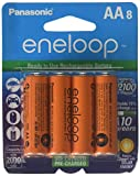 Panasonic Eneloop 4th generation 8 Pack AA NiMH Pre-Charged Rechargeable Batteries -FREE BATTERY