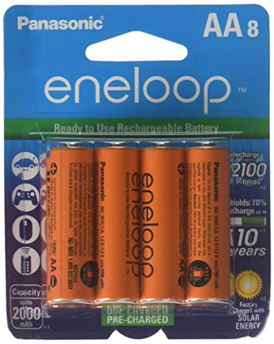Eneloop Panasonic 4th Generation 8 Pack AA NiMH Pre-Charged Rechargeable Battery with Holder Orange Pack of 8