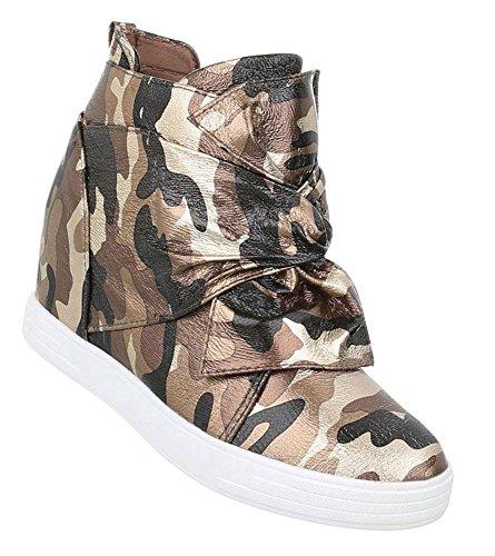 Damen Sneakers | Sneaker Wedges | Keilabsatz Schuhe | Wedge Sportschuhe | Basketball Style | Freizeitschuhe Klettverschluss | Schuhcity24 Grün