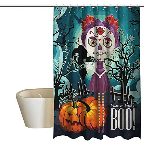 Denruny Shower Curtains Black and White Halloween,Girl Sugar Skull Makeup,W48 x L84,Shower Curtain for Girls for $<!--$38.00-->