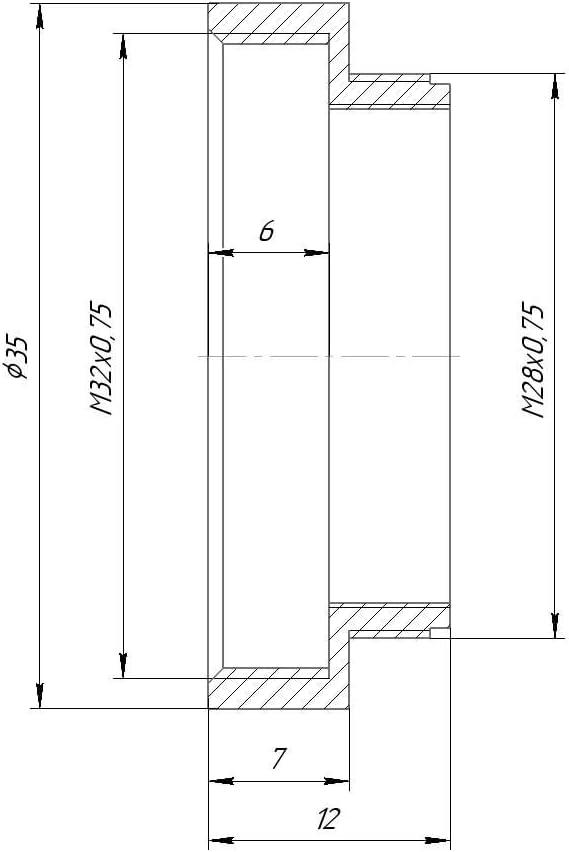 M28x0.75 Male to M32x0.75 Female Thread Adapter Black