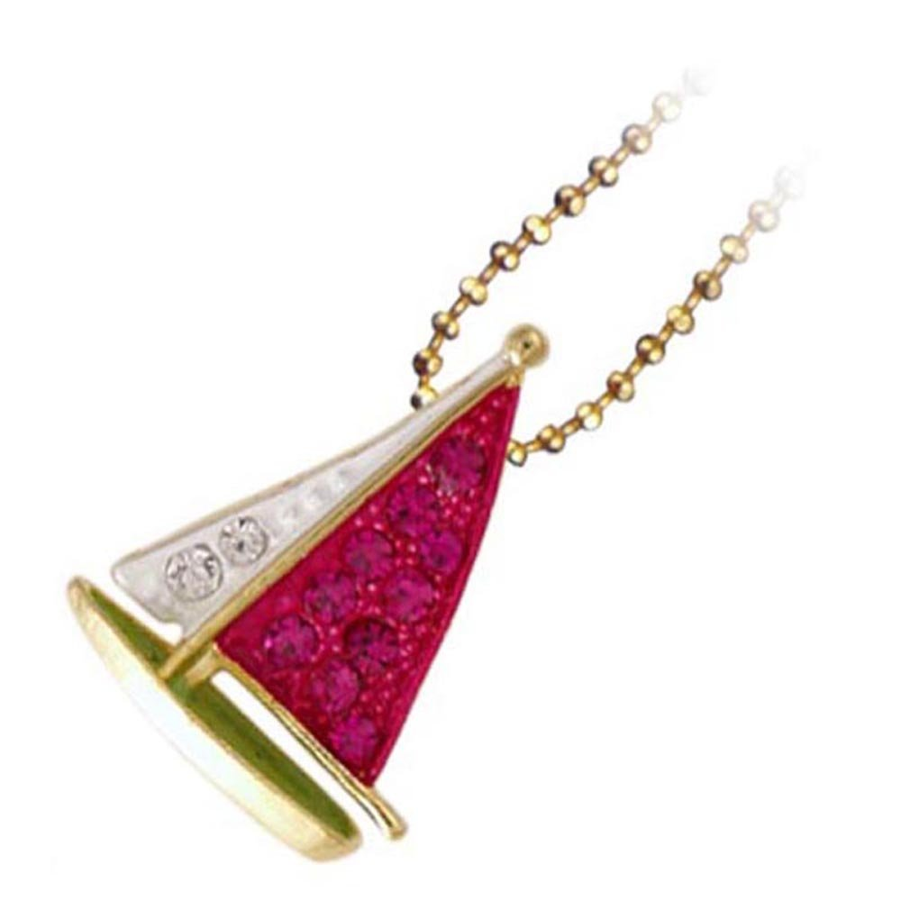 Fuchsia Sailboat Necklace (Nautical Hand Painted Silver Plated Crystal Summer Pendant Necklace Jewelry RSN1371-FU)