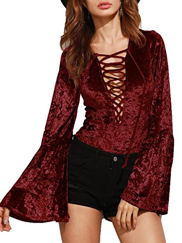 Verdusa Women's Long Bell Sleeve Comfy Velvet Leotard Bodysuit Jumpsuit 51Zh3l2974L