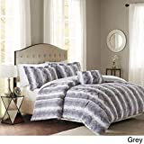 Faux Fur Duvet Cover 4 Piece Grey Faux Fur Stripe Theme Duvet Cover Set King, Gray White Modern Contemporary Vertical Stripes Pattern Opulent Reversible Luxury Solid Color Bedding Soft, Polyester