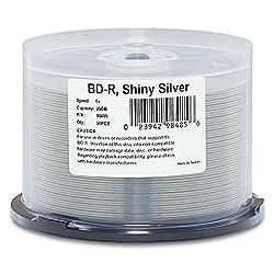 Verbatim Bd-r 25gb 6x Shiny Silver Silk Screen Printable, Hub Printable - 50pk Spindle 98485