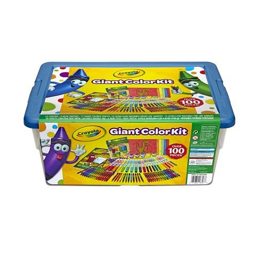 Amazon Crayola GIANT COLOR KIT Exclusive 0ver 100 Pieces Crayons Construction Paper Coloring Book COLORED Pencils Paint And Brushes Office Products