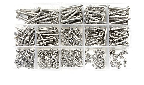 Countersunk Self Tapping Screw - HVAZI 295pcs M2.9 M3.5 M4.2 M4.8 304 Stainless Steel Phillips Flat Head Self Tapping Screws Assortment Kit