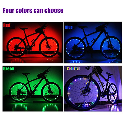 Bike Wheel Light, Oumers Waterproof Super Bright LED Bicycle Spoke Light Strings for Bicycle Spokes/Rim/ Wheel Decoration. Cool Safety Light Up Spokes Easy Install (Battery Included)
