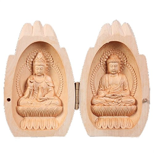 - EBISSY Buddha Statue Small Hand Carved Wooden Box [ Home Decor Mini Buddhist Altar ] Portable Temple (Praying Hands)