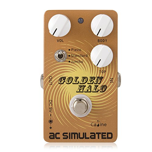 Caline Electric Guitar Pedals Acoustic Simulator Guitar Pedals Reverb AC Simulated Vintage Multi Distortion Guitar Effects Pedal True Bypass Golden Halo CP-35 Guitarist Gifts